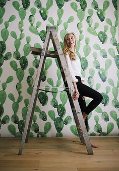 Watercolour cactus - large wall mural | wallpaper by anewalldecor