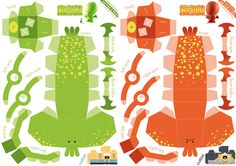 Red and green versions of Cthulhu papercraft pattern
