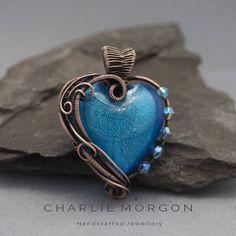 Aqua Blue Heart Pendant - Lampwork Glass Heart, Heart Pendant, Burlesque Necklace, Heart Amulet Pendant, Mothers Day Gift, Gift For Her,