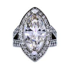 Diamond Rings : 7.20 Carat Marquise Diamond White Gold Engagement Ring | $44995