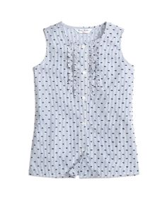 Girls' Flocked Dot Sleeveless Ruffle Blouse