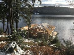 New boathouse in Morgan Bay underway. - Project: Morgan Bay Boathouse Building design by: Construction by: Lumber by: Dock by Engineering by: - Lakefront Property, Boat Lift, Lake George, Boathouse, Rustic Design, Building Design, Great Places, Foundation, Engineering