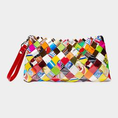 Candy wrapper purses, clutches, and wallets.