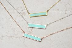 Turquoise Bar Necklace Sterling Silver Gold by ShopBellsNWhistles