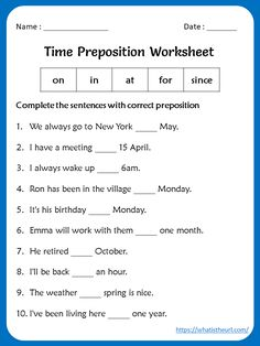 prepositions worksheets for grade 2 - Google Search