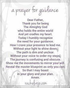 A Prayer for Guidance- the prayers I write are words from my heart and the reason I write them is to offer a gift to God. Prayer Scriptures, Bible Prayers, Faith Prayer, God Prayer, Prayer Quotes, Power Of Prayer, Spiritual Quotes, Spiritual Prayers, Catholic Prayers