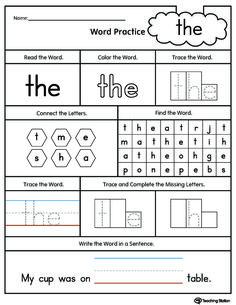 Word for Kindergarten Worksheets. 20 Word for Kindergarten Worksheets. Sight Words Worksheets for Kindergarten Write the Words Kindergarten Sight Words List, Preschool Sight Words, Teaching Sight Words, First Grade Sight Words, Free Kindergarten Worksheets, Sight Word Practice, Sight Word Activities, Reading Worksheets, Kindergarten Reading