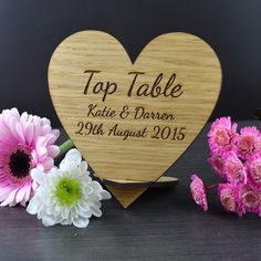 **Personalised Wooden Heart Shaped Table Name Display Sign** - Makes a fantastically unique table name display idea for your wedding! Wedding Top Table, Wedding Reception Signs, Wedding Places, Wedding Place Cards, Confetti Photos, Table Centerpieces, Centrepieces, 1st Anniversary Gifts, Table Names