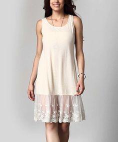 This Cream Lace-Hem Slip Extender - Plus is perfect! #zulilyfinds
