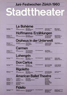Афиша городского театра в Цюрихе. Йозеф Мюллер-Брокманн, 1960