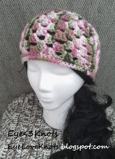 b4a7313155a EyeLoveKnots  Crochet Adult Granny Square Beanie in Pink Camo FREE PATTERN  Crochet Adult Hat