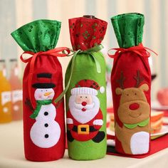 TotalShop Christmas Wine Bottle Bag Cover Cute Xmas Santa Claus Reindeer Red White Wine Bottle Cover for Table Holiday Decorations – A set of 3 pcs Christmas Wine Bottles, Christmas Bags, Christmas Humor, Christmas Crafts, Merry Christmas, Christmas Decorations, Table Decorations, Bottle Decorations, Christmas Snowman