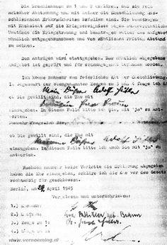 Opdracht 4 - Huwelijksakte - De huwelijksakte van Adolf Hitler en Eva Braun.