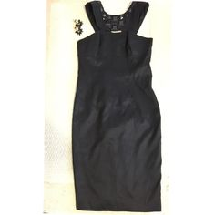 Pretty Jeweled Black Dress Only wore twice!Very rich material very strechy too size 6 fits small busts 8 Dresses Midi