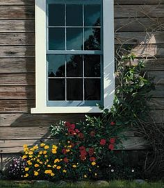 May Flowers by Edward Gordon - Wood-sided cottage house with window, vines and flowers