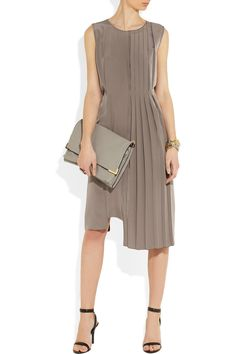 Maison Martin Margiela | Pleated silk dress, Chloe bag, and Alexander Wang shoes