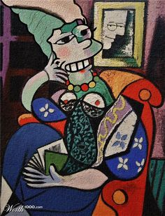 Marge Simpson in a double parody..Picasso and Whistler.