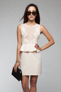 Cream Lace & Mesh Bodice Peplum Dress #homecoming