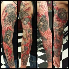 """Slasher Sleeve by tattoojax  It's finished!!! ❤️ Nightmare On Elm Street -  Halloween - Friday The 13th - Scream - Candyman - Child's Play - Psycho - It - Texas Chainsaw Massacre  - My Bloody Valentine - Hellraiser - Saw - Quote from Psycho/Scream """"We All Go A Little Mad Sometimes"""" #tattoo #tattoos #ink #inked #slasher #horror #sleeve #freddy #michaelmyers #ghostface #candyman #chucky #normanbates #it #stephenking #leatherface #pinhead #jigsaw"""