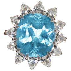 Extraordinary GIA Certified 10.50 Carat Paraiba Tourmaline Pear Cut Diamond Ring For Sale at 1stDibs Pool Colors, Diamond Rings For Sale, Aqua Color, Gem S, Craft Work, Amethyst, Blue Pool, White Gold, Jewels