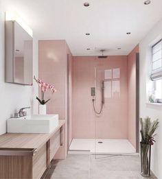 Banheiro lindo, com revestimento em um tom de rosa fosco, o box com o vidro transparente, deixou o ambiente ainda mais ampliado. A bancada…