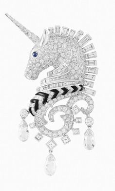 Van Cleef & Arpels Licorne clip, white gold, diamonds, sapphire and onyx - oh my word my love of unicorns just took a HUGE leap! Van Cleef Arpels, Van Cleef And Arpels Jewelry, High Jewelry, Jewelry Accessories, Jewelry Design, Unique Jewelry, Gold Jewelry, Cartier, Unicorn Jewelry