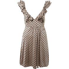 Miss Selfridge - Spot Ruffle Slinky Dress ❤ liked on Polyvore featuring dresses, vestidos, miss selfridge dresses, flounce dress, flutter-sleeve dresses, polka dot dress and brown polka dot dress