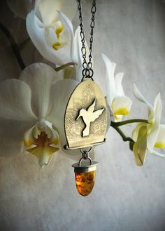 Sterling Silver and Amber Hummingbird Necklace  by LaFreeBoheme
