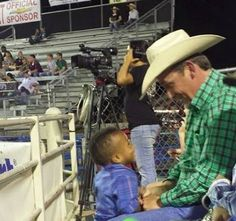 """Grateful mom posts photo of """"stranger"""" playing with her adopted special-needs son at Texas rodeo…and it gets even better when she learns who he is. (Full story on TheBlaze.com)"""