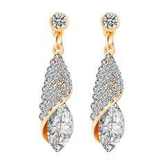 Rhinestoned Oval Crystal Drop Earrings