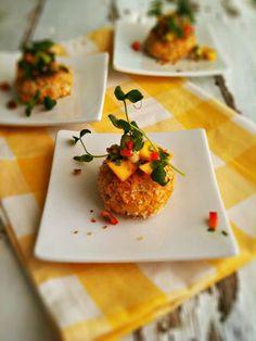 Curried Crab Cakes with Mango Avocado Salsa
