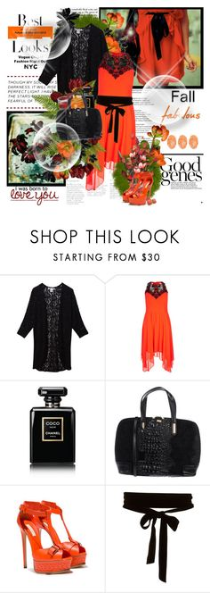 """Hello fall..."" by purplecherryblossom ❤ liked on Polyvore featuring Sans Souci, City Chic, MML, Chanel, TSD12, Casadei and plus size dresses"
