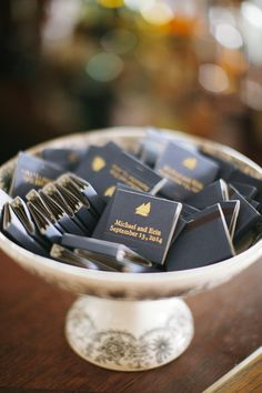 Match wedding favor idea - personalized navy matches with couple's names and wedding date {Lara Kimmerer | photographer}