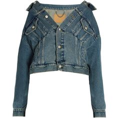 Off-the-shoulder denim jacket Balenciaga MATCHESFASHION.COM (1,640 CAD) ❤ liked on Polyvore featuring outerwear, jackets, coats, tops, coats & jackets, off-the-shoulder jackets, blue denim jacket, balenciaga, blue jean jacket and jean jacket