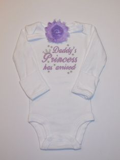 Daddys Princess has arrived baby girl embroidered one piece bodysuit YOU CHOOS COLORS newborn take home bringing home outfit shower gift
