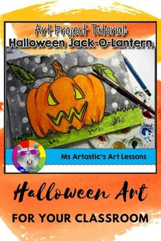 Use both paint and oil pastels to create the coolest Jack-O-Lantern anyone has ever seen with your students! Use oil pastel and paint to create a jack-o'-lantern art piece for a Halloween display. This product is complete with a visual and text step-by-st Halloween Art Projects, Fall Art Projects, School Art Projects, Projects For Kids, Halloween Activities, Art Activities, Art Classroom, School Classroom, Classroom Ideas