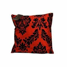"""1x Designer Flock Arena Red/ Black Faux Silk Print Cushion Cover Size 18""""x8"""" (1412) By Massimo by Gaveno Cavailia"""