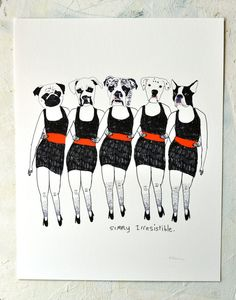 Print Art Dogs Animals Humor Quirky Music inspired by retrowhale, $20.00