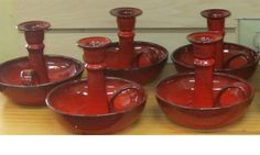 large candle holders by Nancy Owens Brewer of Original Owens Pottery Large Candle Holders, Punch Bowls, Valentine Gifts, Mud, Pewter, Candles, Ceramics, Traditional, The Originals