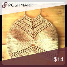 Bohemian crop top Tan cute crocheted summer top :)! handmade Tops Crop Tops