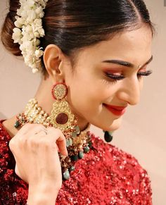 """Erica Fernandes attended a recent wedding wearing a beautiful maroon sequin embellished lehenga paired with matching crop top and duppata by """"Sabyasachi """" Saree Wedding, Wedding Wear, Wedding Reception, Wedding Makeup, Wedding Bride, Bridal Lehenga Collection, Tashan E Ishq, Erica Fernandes, Dress Indian Style"""