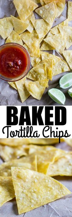 Bake your own Homemade Tortilla Chips in 10 minutes! Extra thin tortillas ensure crunchy snacks every time, perfect for salsa and guacamole. Homemade Tortilla Chips, Homemade Tortillas, Recipe For Baked Tortilla Chips, Chips And Salsa, Appetizers For Party, Party Snacks, I Love Food, Healthy Snacks, Healthy Chips