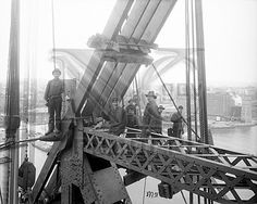 Ironworkers pose for the camerea during construction of the Queensboro Bridge; view looking northeast from the upper deck.    May 2, 1907  Eugene de Salignac