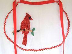 Christmas Half Apron Red Cardinal Sheer Ric Rac Heirloom Handmade VTG #Handmade