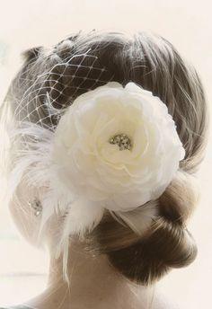 Vintage Wedding Ivory Flower Hair Piece, Weddings White Fascinator head piece, Bridal Hair Flower Clip, Wedding Accessories Hair Piece on Etsy, $39.50