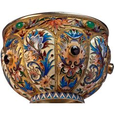 Preowned Antique Russian Cloisonne Enamel Silver Bowl (€25.335) ❤ liked on Polyvore featuring home, kitchen & dining, serveware, multiple, green bowl, floral bowl, silver serveware, enamel bowl and silver bowl