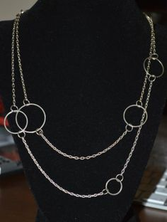 "Stunning 48"" Silver Tone Circle Modern Chain Necklace D107"