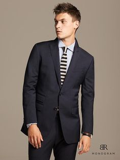 BR Monogram Navy Neatweave Suit Jacket Product Image