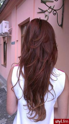 Long red brown hair