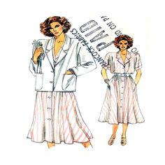 Vogue 9255 Sewing Pattern Misses Jacket Dress Size 8 10 12 Uncut 1985 Vintage